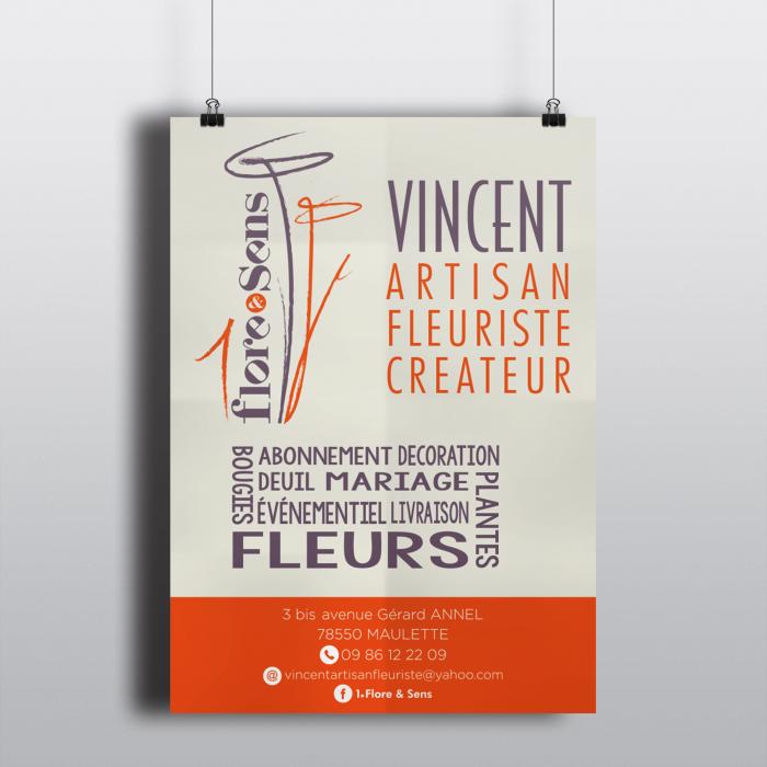 Affiches et cartes de visite pour le fleuriste 1Flore&Sens