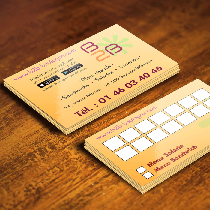 Création cartes de visite et menus