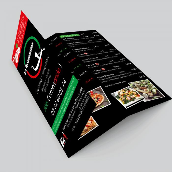 Plaquette de tarifs pour le restaurant Le Romantica